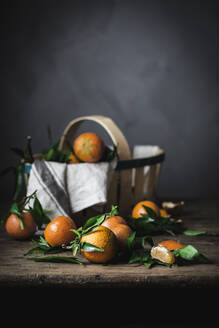 Ripe orange mandarins and basket with towel on rough wooden table - ADSF08663