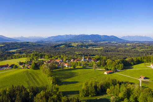 Germany, Bavaria, Hechenberg, Drone view of countryside village in summer - LHF00820