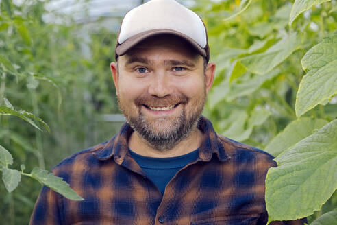Portrait of smiling farmer in a greenhouse - KNTF05157