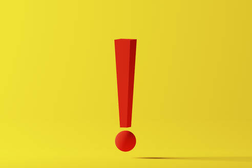 Red exclamation point over yellow background, 3D Illustration - DRBF00188