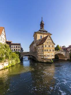 Deutschland, Bayern, Franken, Bamberg, Altstadt, Regnitz, Obere Brücke, Altes Rathaus - WDF06144