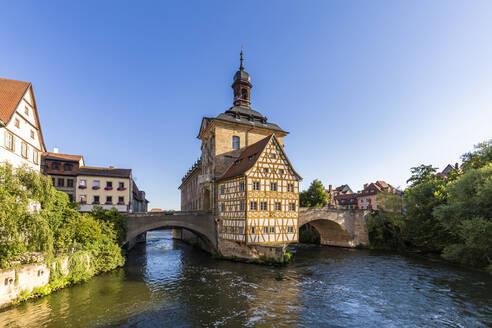 Deutschland, Bayern, Franken, Bamberg, Altstadt, Regnitz, Obere Brücke, Altes Rathaus - WDF06165
