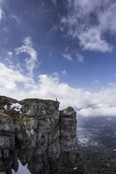 HIker standing on viewpoint, Saeuling, Bavaria, Germany - MALF00058