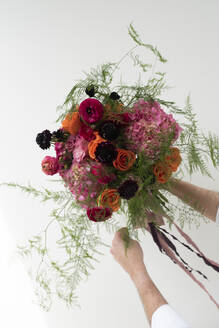 Studio shot of pink, red and purple bouquet of summer flowers - DSIF00081