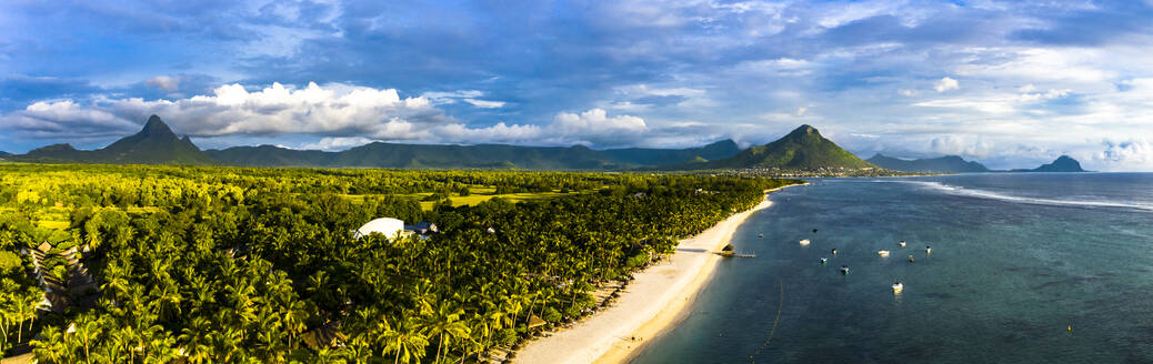 Mauritius, Black River, Flic-en-Flac, Helicopter panorama of palm trees stretching along coastal beach - AMF08405