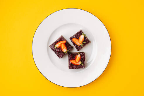 Pieces of berry and chocolate cake - ADSF11864