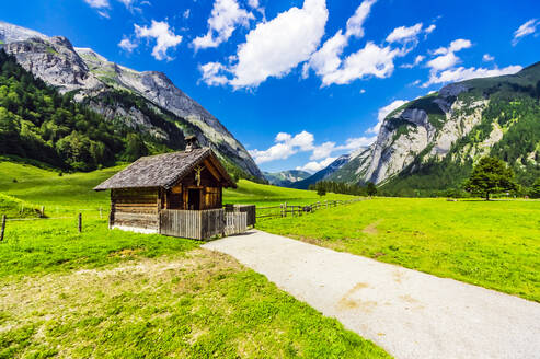 Austria, Tyrol, Vomp, Rustic hut in Lower Inn Valley during summer - THAF02805