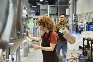 Man and woman working in craft brewery - ZEDF03693