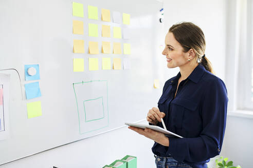Smiling businesswoman with digital tablet looking at sticky notes stuck on whiteboard in office - BSZF01640