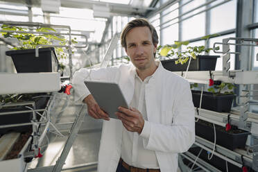 Portrait of a scientist holding tablet in a greenhouse - JOSEF01615