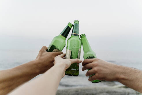 Hands of three friends making celebratory toast with beer bottles - AFVF07063