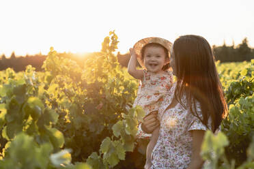 Mother holding her daughter in a vineyard at sunset in Provence, France - GEMF04121