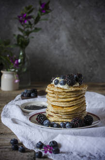 Tasty pancakes with blackberries and blueberries - ADSF14695