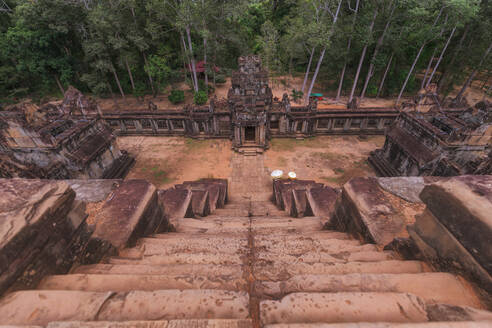 Weathered exterior of historic Angkor Wat complex in Cambodia - ADSF15387
