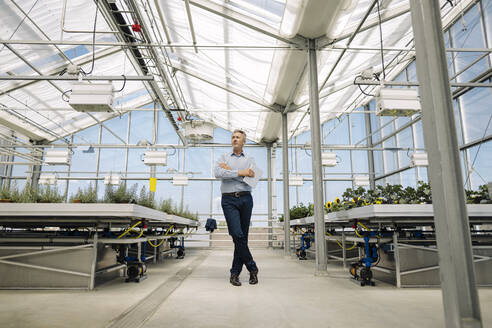 Male professional with arms crossed standing in greenhouse - JOSEF01794