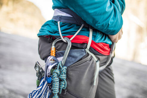 Detail view of climbing harness and climbing tools and rack. - CAVF88786