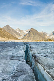 Glacial crevasse in Auyuittuq National Park - CAVF88807