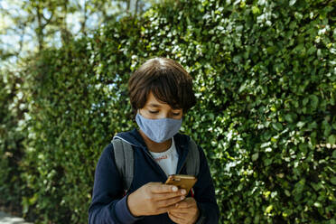 Schoolboy wearing mask using mobile phone while standing by plants - VABF03468