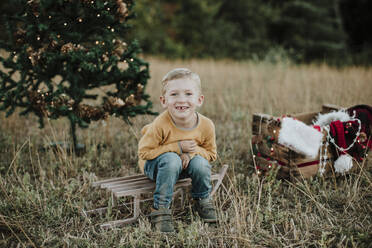 Cute boy sitting on sled against Christmas tree at countryside - GMLF00599