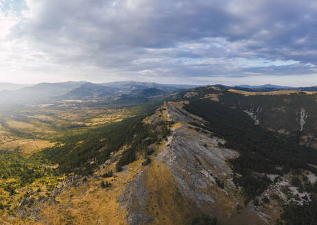 Drone view of Puerto de la Puebla mountain pass at dusk - RSGF00285