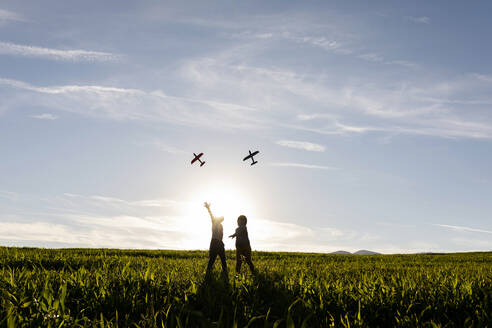 Playful brothers flying airplane toy while standing on grass in meadow - VABF03546