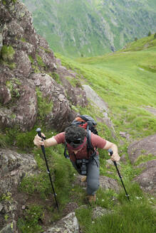 Hiker in Canfranc Valley, Pyrenees in Spain. - CAVF89277