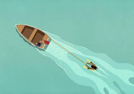 Rowboat pulling water skier - FSIF05329