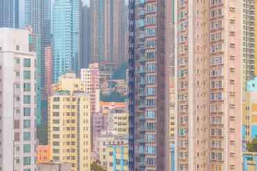 Full frame shot of buildings in city, Hong Kong - LCUF00126
