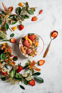 Top view of nutritious smoothie bowl with strawberries and nuts arranged on table with green plant and various fruits - ADSF16237