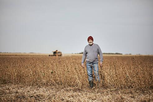 Farmer standing in soybean farm against clear sky - ZEDF03963