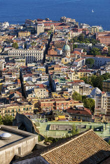 Italy, Campania, Naples, Aerial view of seaside city district - ABOF00565