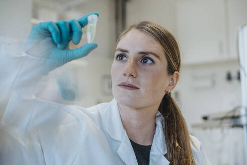 Young woman examining test tube while standing at laboratory - MFF06449