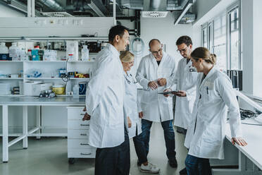 Team of scientist with digital tablet working together while standing at laboratory - MFF06548
