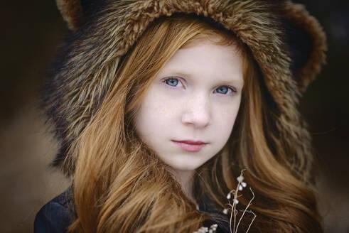 Young Girl Long Red Hair Wearing Bear Spirit Hood - CAVF90092