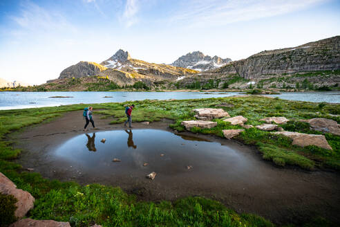 Couple Hiking Together at Limestone Lakes Height of the Rockies - CAVF90110