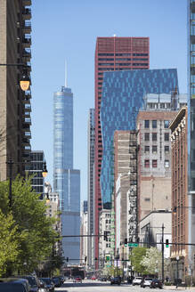 Wabash Avenue buildings on sunny day, Chicago, USA - AHF00148