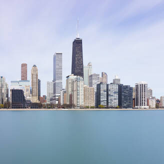 Chicago skyline against blue sky, USA - AHF00166