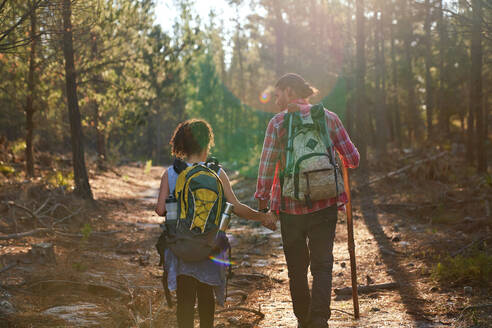 Young couple hiking with backpacks in sunny summer woods - CAIF30008