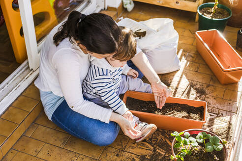 Mother and 1 year-old son planting seeds in a pot in the balcony - FLMF00327