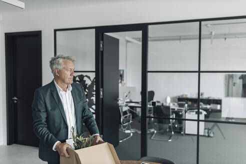 Businessman holding box while standing at office - GUSF04486