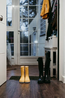 Yellow and black color jump boot on door at home - EBBF01183