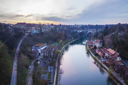 High angle view of aare river in Switzerland - FLMF00336