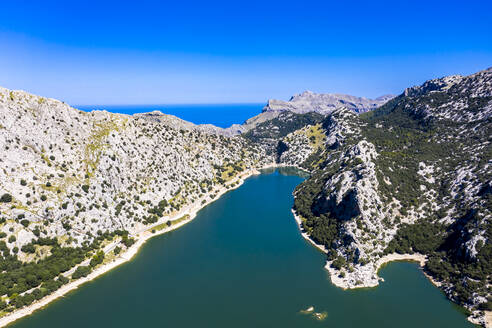Spain, Balearic Islands, Helicopter view of Gorg Blau reservoir in summer - AMF08641