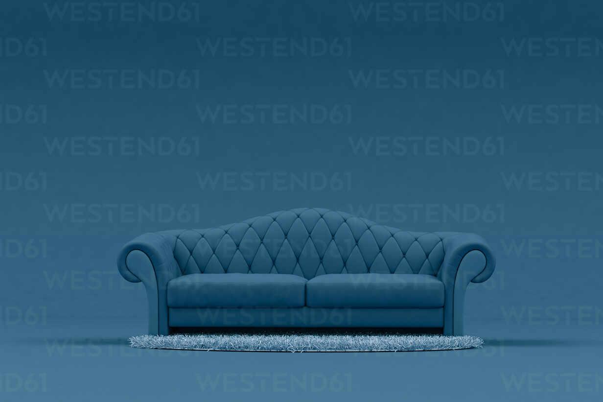 Blue Sofa With Light Blue Rug Stockphoto