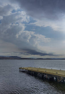 Jetty on Loch Fyne and cloudy sky, Scotland - AJOF00666
