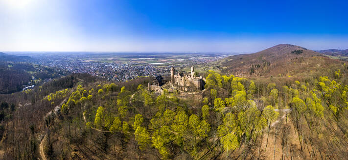 Germany, Hesse, Bensheim, Helicopter view of Auerbach Castle in spring with town in background - AMF08807