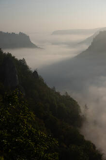 Scenic view of sunrise over Danube Valley at Beuron, Swabian Alb, Germany - FDF00317
