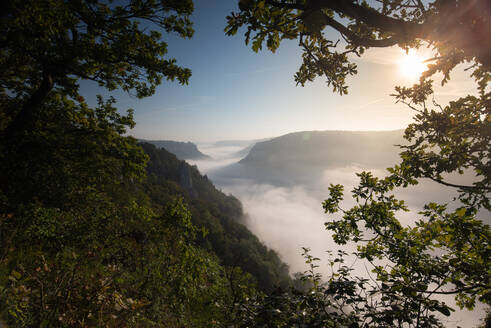 Awe view of Danube Valley at Beuron, Swabian Alb, Germany - FDF00323