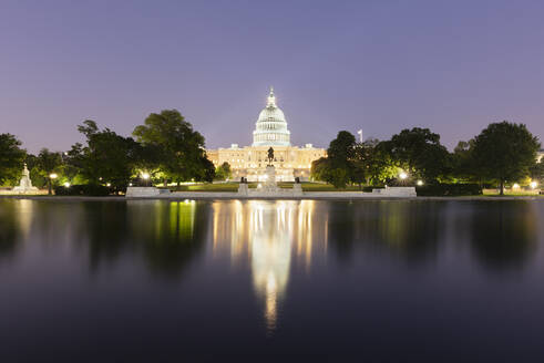 USA, Washington DC, United States Capitol at eastern end of National Mall at night - AHF00220