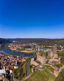 Germany, Baden-Wurttemberg, Wertheim am Main, Helicopter view of clear blue sky over Wertheim Castle and surrounding town in summer - AMF08930